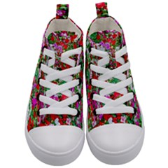 Colorful Petunia Flowers Kid s Mid Top Canvas Sneakers