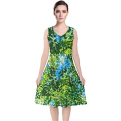 Forest   Strain Towards The Light V Neck Midi Sleeveless Dress