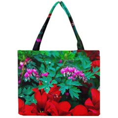 Bleeding Heart Flowers Mini Tote Bag by FunnyCow