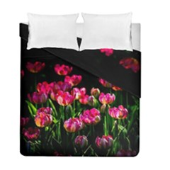 Pink Tulips Dark Background Duvet Cover Double Side (full/ Double Size) by FunnyCow