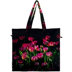 Pink Tulips Dark Background Canvas Travel Bag by FunnyCow