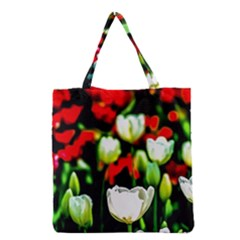 White And Red Sunlit Tulips Grocery Tote Bag