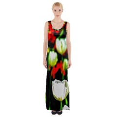 White And Red Sunlit Tulips Maxi Thigh Split Dress