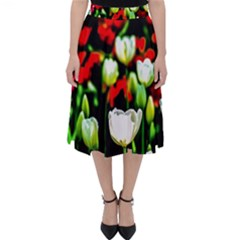White And Red Sunlit Tulips Folding Skater Skirt