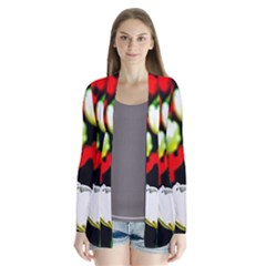 White And Red Sunlit Tulips Drape Collar Cardigan