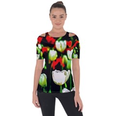 White And Red Sunlit Tulips Short Sleeve Top