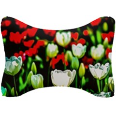 White And Red Sunlit Tulips Seat Head Rest Cushion