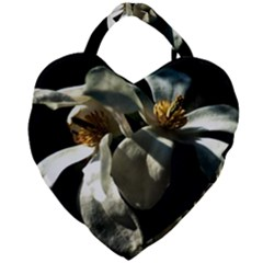 Two White Magnolia Flowers Giant Heart Shaped Tote by FunnyCow
