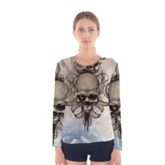 Awesome Creepy Skull With  Wings Women s Long Sleeve Tee