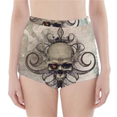 Awesome Creepy Skull With  Wings High Waisted Bikini Bottoms