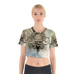 Awesome Creepy Skull With  Wings Cotton Crop Top by FantasyWorld7