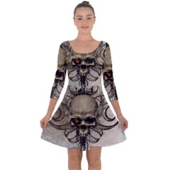 Awesome Creepy Skull With  Wings Quarter Sleeve Skater Dress by FantasyWorld7