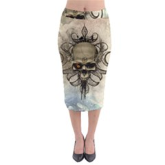 Awesome Creepy Skull With  Wings Midi Pencil Skirt