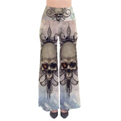 Awesome Creepy Skull With  Wings Women s Chic Palazzo Pants by FantasyWorld7