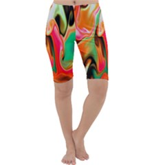 Catch The Waves Smoky Red Orange Haze  Cropped Leggings