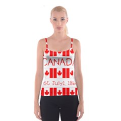 Canada Day Maple Leaf Canadian Flag Pattern Typography  Spaghetti Strap Top