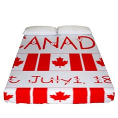 Canada Day Maple Leaf Canadian Flag Pattern Typography  Fitted Sheet (california King Size)