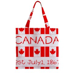 Canada Day Maple Leaf Canadian Flag Pattern Typography  Zipper Grocery Tote Bag