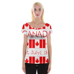 Canada Day Maple Leaf Canadian Flag Pattern Typography  Cap Sleeve Tops