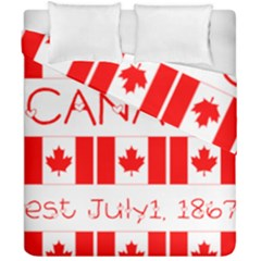 Canada Day Maple Leaf Canadian Flag Pattern Typography  Duvet Cover Double Side (california King Size)
