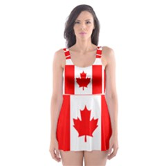 Canada Day Maple Leaf Canadian Flag Pattern Typography  Skater Dress Swimsuit
