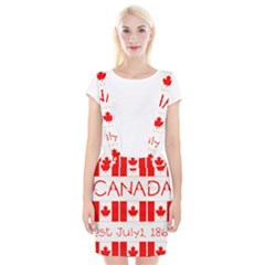Canada Day Maple Leaf Canadian Flag Pattern Typography  Braces Suspender Skirt