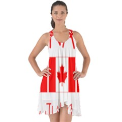 Canada Day Maple Leaf Canadian Flag Pattern Typography  Show Some Back Chiffon Dress