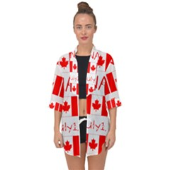 Canada Day Maple Leaf Canadian Flag Pattern Typography  Open Front Chiffon Kimono