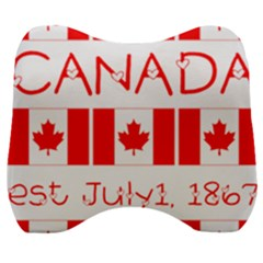 Canada Day Maple Leaf Canadian Flag Pattern Typography  Velour Head Support Cushion