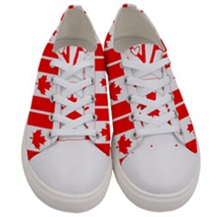 Canada Day Maple Leaf Canadian Flag Pattern Typography  Women s Low Top Canvas Sneakers