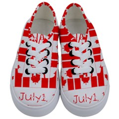 Canada Day Maple Leaf Canadian Flag Pattern Typography  Kids  Classic Low Top Sneakers