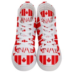 Canada Day Maple Leaf Canadian Flag Pattern Typography  Women s Hi Top Skate Sneakers