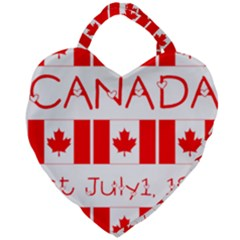 Canada Day Maple Leaf Canadian Flag Pattern Typography  Giant Heart Shaped Tote