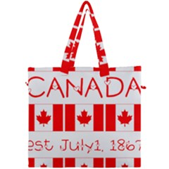 Canada Day Maple Leaf Canadian Flag Pattern Typography  Canvas Travel Bag