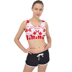 Canada Day Maple Leaf Canadian Flag Pattern Typography  V Back Sports Bra