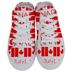 Canada Day Maple Leaf Canadian Flag Pattern Typography  Half Slippers