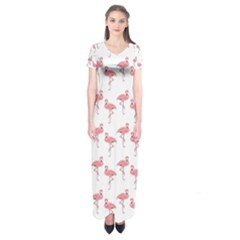 Pink Flamingo Pattern  Short Sleeve Maxi Dress