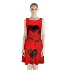 Wonderful Heart On Vintage Background Sleeveless Waist Tie Chiffon Dress