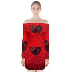 Wonderful Heart On Vintage Background Long Sleeve Off Shoulder Dress