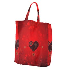 Wonderful Heart On Vintage Background Giant Grocery Tote