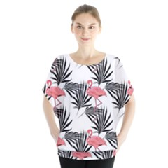 Pink Flamingos Palmetto Fronds Tropical Pattern Blouse