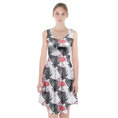 Pink Flamingos Palmetto Fronds Tropical Pattern Racerback Midi Dress