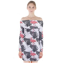 Pink Flamingos Palmetto Fronds Tropical Pattern Long Sleeve Off Shoulder Dress