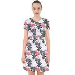 Pink Flamingos Palmetto Fronds Tropical Pattern Adorable In Chiffon Dress
