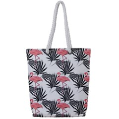 Pink Flamingos Palmetto Fronds Tropical Pattern Full Print Rope Handle Tote (small)