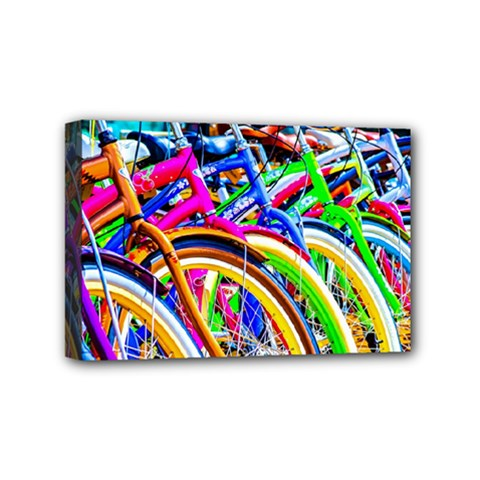 Colorful Bicycles In A Row Mini Canvas 6  X 4