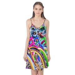 Colorful Bicycles In A Row Camis Nightgown