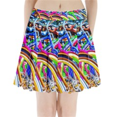 Colorful Bicycles In A Row Pleated Mini Skirt