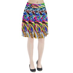 Colorful Bicycles In A Row Pleated Skirt