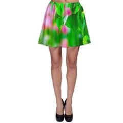 Green Birch Leaves, Pink Flowers Skater Skirt